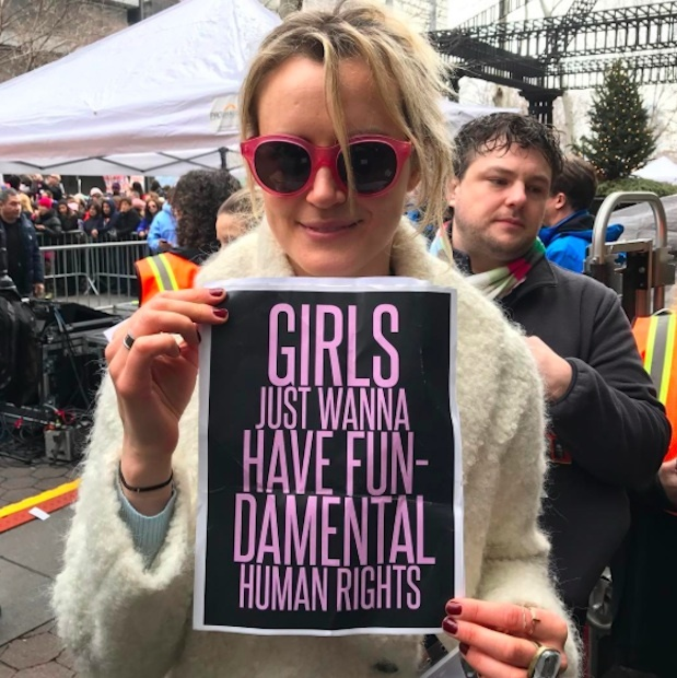 Taylor Schilling marched in NYC.