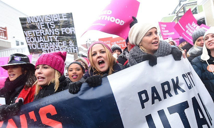 Chelsea Handler, Maria Bello and Charlize Theron led the march at the Sundance Film Festival. 