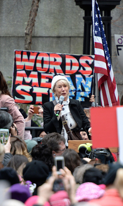 Helen Mirren encouraged marchers in New York. 