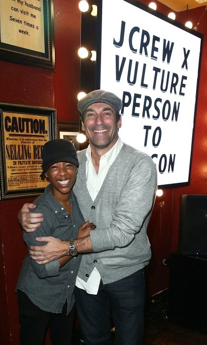 <strong>January 20:</strong> Jon Hamm and Samira Wiley enjoyed the official Person to Person after party at Rock & Reilly's in Park City, Utah. The event was hosted by J. Crew, Vulture and New York Magazine.