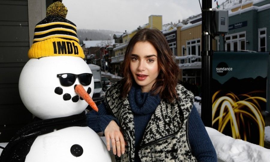 <strong>January 21:</strong> Lily Collins looked cool as she stopped by the IMDb Studio (presented by Amazon Video Direct) during the 2017 Sundance Film Festival in Park City, Utah. 