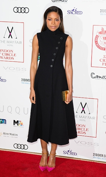 <strong>Jan. 22:</strong><em>Moonlight</em> star Naomie Harris worked the London Critic's Circle Film Awards red carpet in a fit-and-flare Dior dress and hot pink Louboutin shoes. 