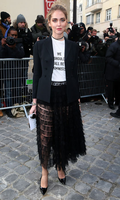 "Chiara Ferragni donned a ""We Should All Be Feminists"" shirt to the Christian Dior Haute Couture Spring Summer 2017 show.