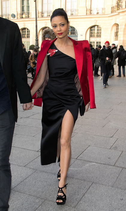 Westworld star Thandie Newton flashed some skin wearing a little black dress to the Schiaparelli Haute Couture show.