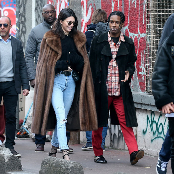 Kendall Jenner and A$AP Rocky were spotted walking around a flea market in Paris.