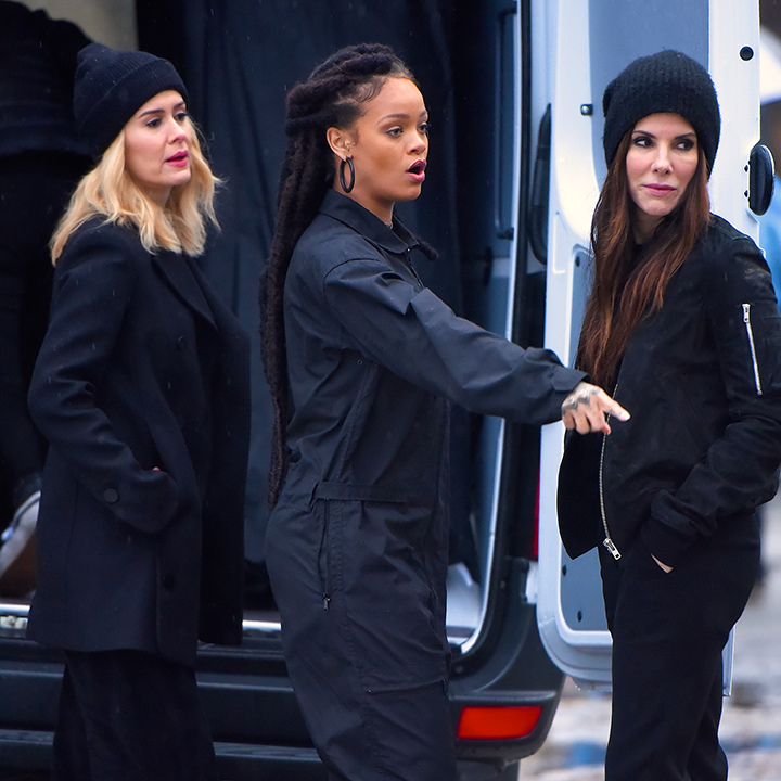 <strong>Jan. 24:</strong> Sarah Paulson, Rihanna and Sandra Bullock looked up to no good on the set of <em>Oceans Eight</em> in New York. 