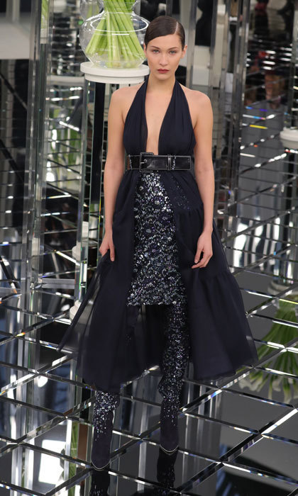 Bella Hadid sparkled in a navy number at Chanel. 