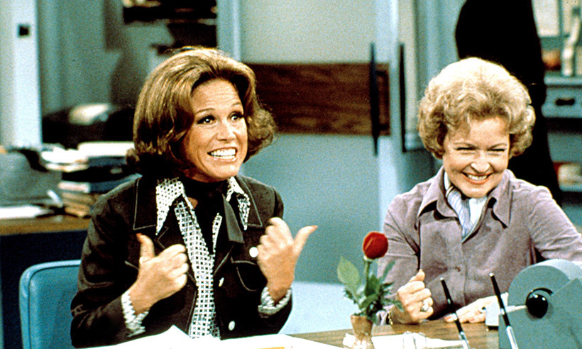Betty White and Mary had a close relationship over the years. Their friendship started on <em>The Mary Tyler Moore Show</em> when Betty was cast as Sue Ann Nivens. Here, the two are seen laughing on set. 