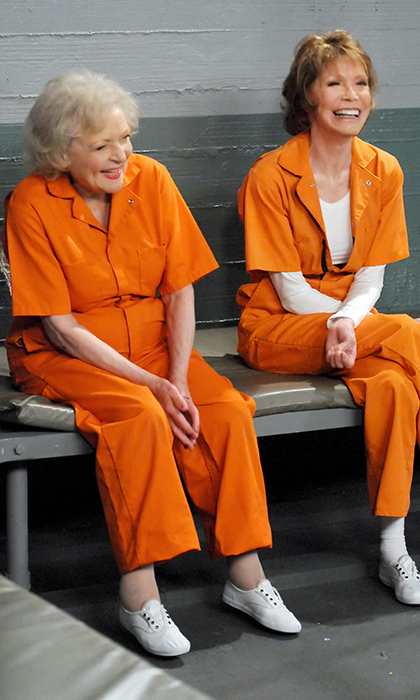 Mary kept acting well into her seventies. Here she poses alongside her good friend and former co-star Betty White on the set of <em>Hot in Cleveland</em> in 2010.
