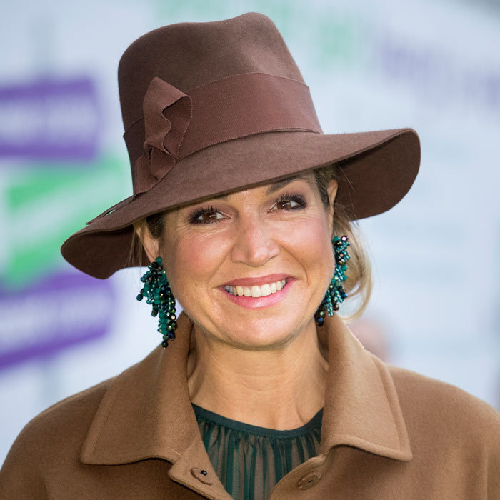 Maxima channeled Indiana Jones as she stepped out wearing a fedora to open the national education exhibition at the Jaarbeurs Utrecht in The Hague, Netherlands. 