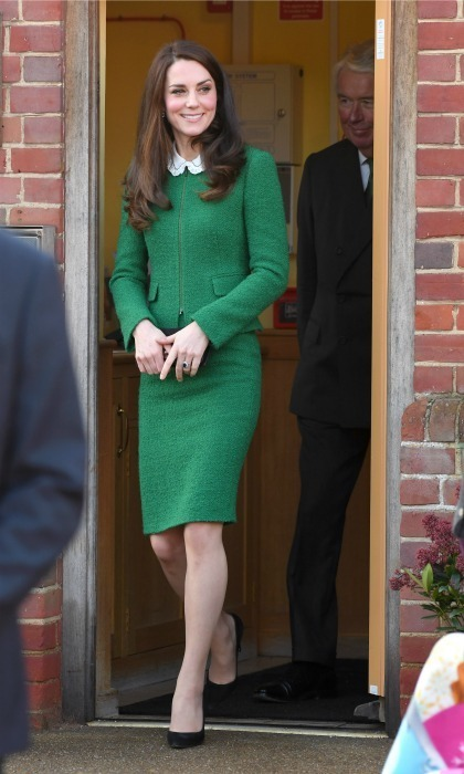 Talk about going green! The Duchess of Cambridge was ready for work in a suit by Hobbs during her outing at the East Anglia's Children's Hospices. 