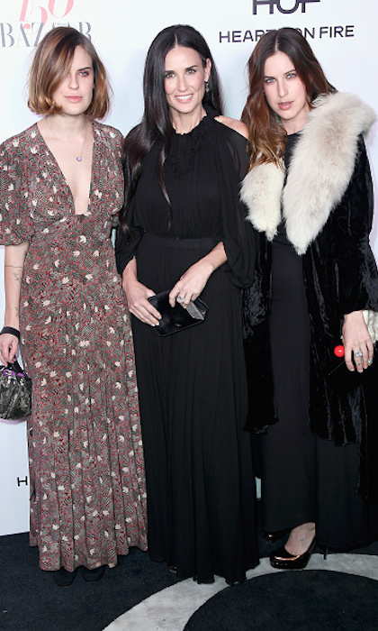 <strong>Jan. 27:</strong> Demi Moore and her stylish daughters Tallulah and Scout stepped out at Harper's BAZAAR 150 Most Fashionable Women event. 