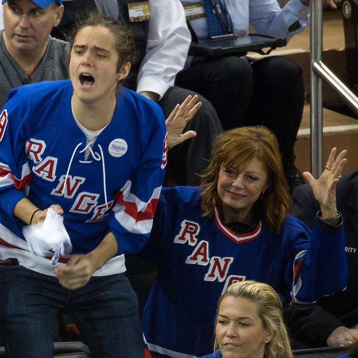 Susan Sarandon and her son Miles cheered on the New York Rangers in Apr. 2016