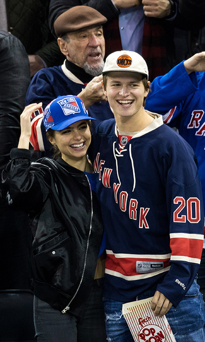 The New York Rangers fan club also includes Ansel Elgort and his girlfriend Violetta Komyshan.