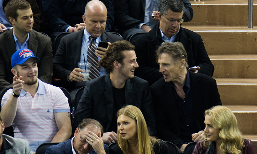 Boys night! Liam Neeson and sons Daniel and Michael checked out the Rangers/Bruins game on March 23, 2016.