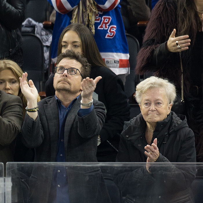 Vancouver native Michael J. Fox and his mother Phyllis headed to Madison Square Garden on Jan. 13 2017 to watch the Toronto Maple Leafs take on the New York Rangers. 