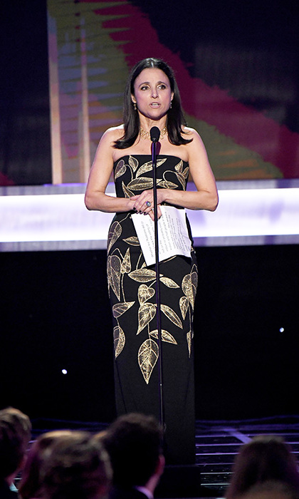 "Julia Louis-Dreyfus was the first to mention the ban, while accepting the award for best actress in a comedy series on Sunday night. ""I want you all to know that I am the daughter of an immigrant,"" she told the crowd. ""My father fled religious persecution in Nazi-occupied France, and I am an American patriot and I love this country."""