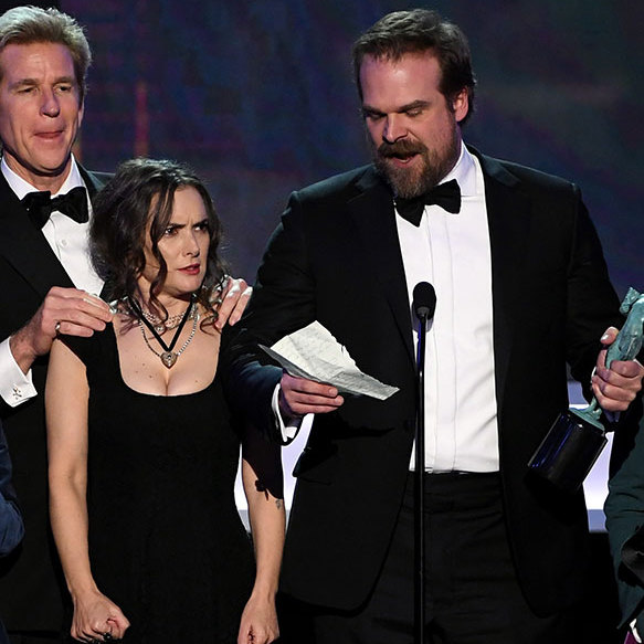 "<p><strong>Winona Ryder's amazing facial expressions</strong></p><p><em>Stranger Things</em> might have taken home the SAG Award for Outstanding Performance by an Ensemble in a Drama Series - but it was lead actress Winona Ryder who stole the show. During co-star David Harbour's impassioned acceptance speech, the 45-year-old actress gave some <a href=""/film/2017013036224/Winona-Ryder-reaction-Stranger-Things-SAG-speech/"" target=""_blank"">priceless facial expressions</a> as she stood up on stage with the rest of the cast. Her reaction caused a social media frenzy, with one Twitter follower writing: ""I will be using #WinonaRyder #SAGAwards gifs all week as we try to get through another week in Trumpland."" Another added: ""Never seen anyone experience as many emotions within a minute as #WinonaRyder did during @DavidKHarbour's #SAGAwards speech. #StrangerThings.""</p><p>Photo: © Getty Images</p>"
