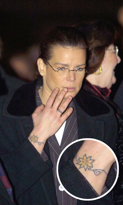 <h3>Princess Stephanie</h3><p>Aside from the dolphin ink on her ankle, Prince Albert's sister also has a sun bracelet tattoo on her right wrist.</p><p>Photo: &copy; WireImage</p>