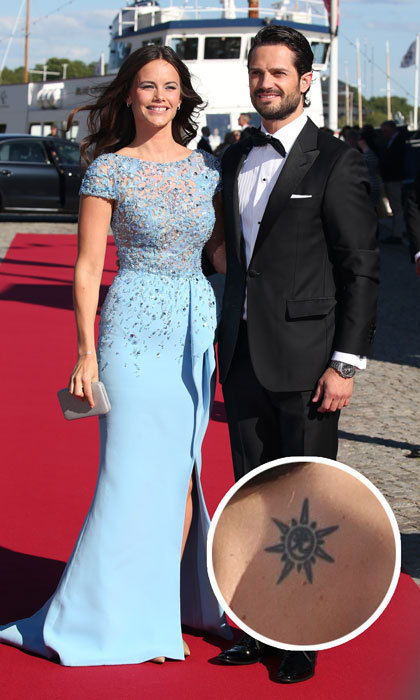 <h3>Princess Sofia</h3><p>The former reality TV star turned Swedish royal has a sunburst tattoo between her shoulder blades. The ink was clearly visible during her and Prince Carl Philip's wedding celebrations back in 2015.</p><p>Photos: &copy; Getty Images</p>