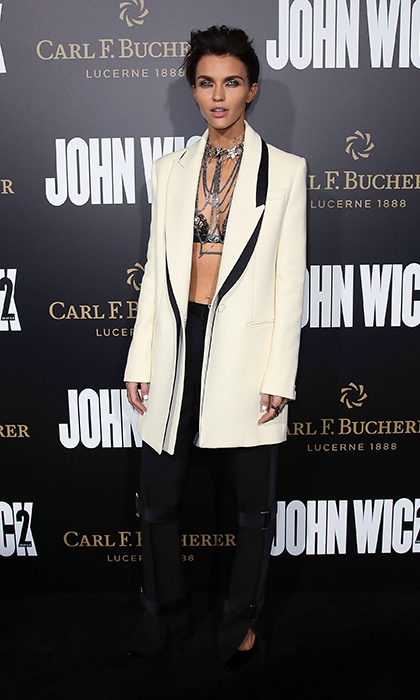 <strong>Jan. 30:</strong> Ruby Rose wore head-to-toe Alexander McQueen to the Hollywood premiere of <em>John Wick: Chapter Two</em>. 