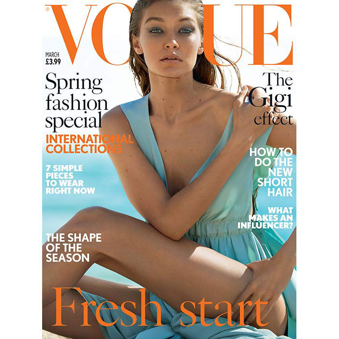 Gigi is on the cover of British <em>Vogue</em> for the second time.