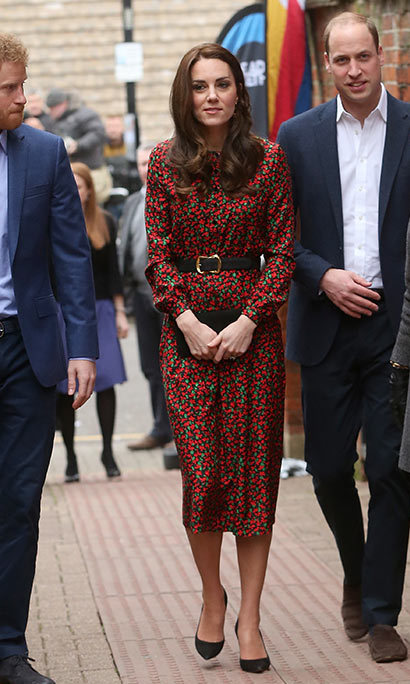 The Duchess of Cambridge looked elegant in the Vanessa Seward Cai floral dress.