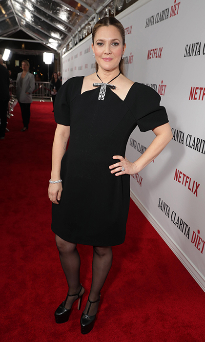 <strong>Feb. 1:</strong> Drew Barrymore stepped out in Marni at the premiere of her new Netflix series <em>Santa Clarita</em> Diet in Hollywood. 