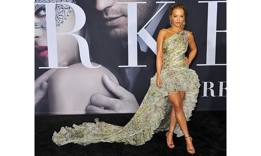 <strong>Feb. 2:</strong> Also on the <em>Fifty Shades Darker</em> red carpet, Rita Ora made quite the entrance in a show-stopping gown by Giambattista Valli. 
