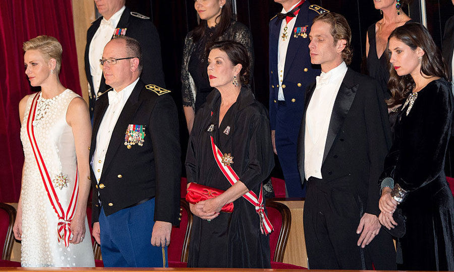 Tatiana, right, is seen with other members of the princely family at Monaco National Day in November 2016. From left to right: Princess Charlene, Prince Albert, Tatiana's mother-in-law Princess Caroline and Andrea Casiraghi.