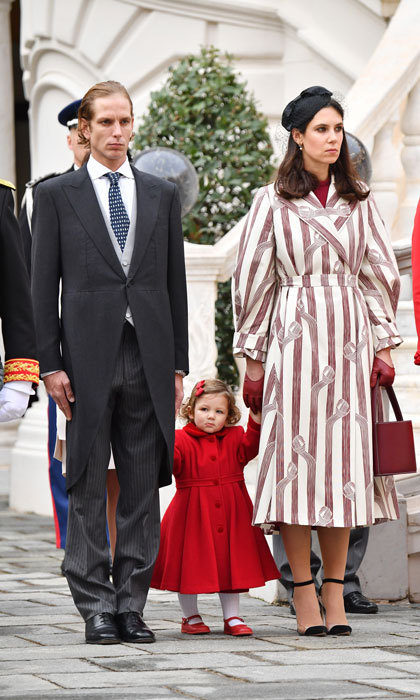 The mom-of-two (pictured with husband Andrea and their daughter India) married into the Monaco royal family in 2013.
