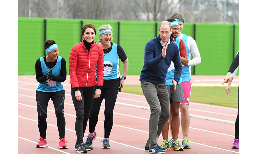 Prince William practiced his running technique in the starting block. 