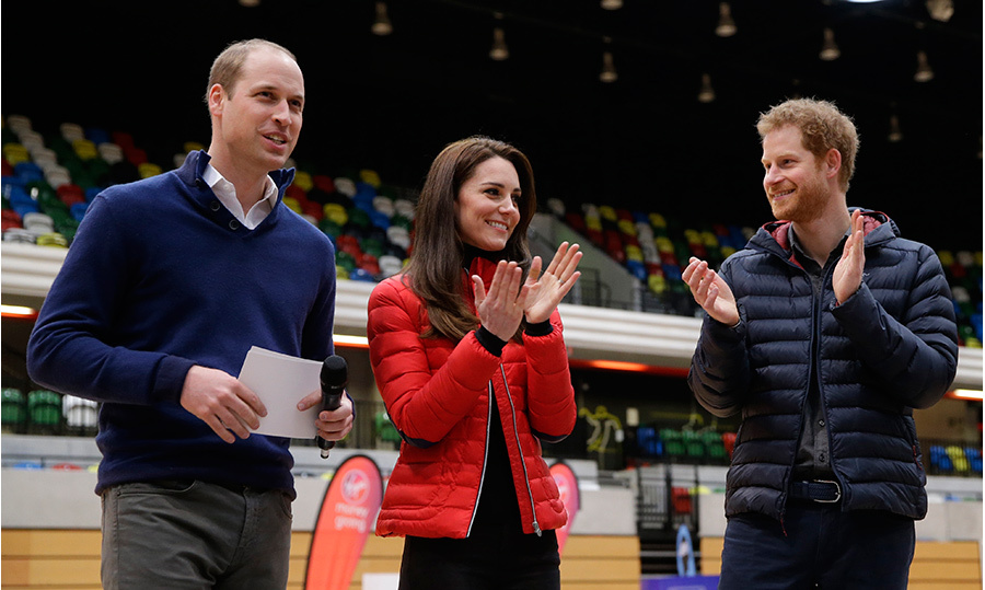 Prince William, Kate and Prince Harry showed their competitive sides as they took part in a relay race against each other for their mental health campaign, Heads Together. 