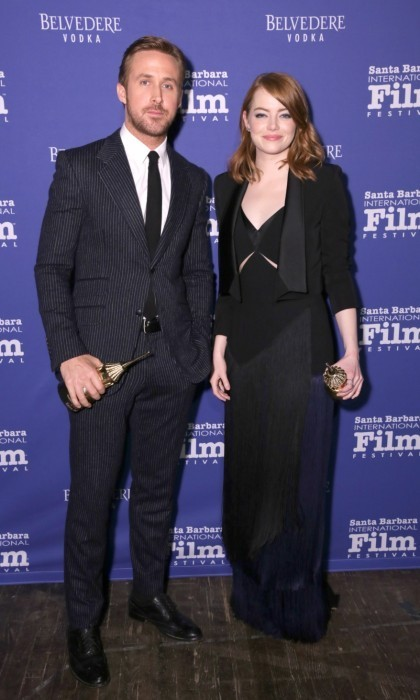 <strong>Feb. 3:</strong>Ryan Gosling and Emma Stone were honoured with the Outstanding Performers of the Year Award at the 32nd Santa Barbara International Film Festival. The <em>La La Land</em> stars looked elegant as they posed with their awards, Ryan sporting a dapper pinstripe suit and Emma wowing in a fringed dress.