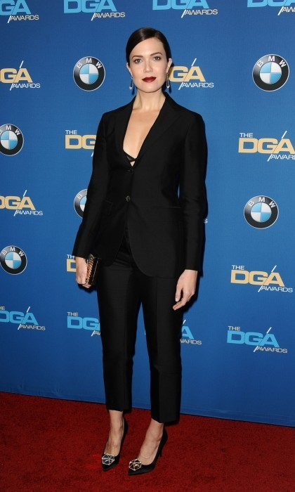 <strong>Feb. 4:</strong> Mandy Moore opted for a sophisticated look at 2017 DGA Awards, sporting a black tuxedo and trousers. She paired the ensemble with slicked back hair and dark berry lips.