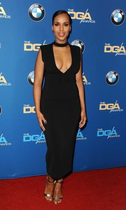 <strong>Feb 4.:</strong>Kerry Washington stepped out in a plunging black dress on the 69th DGA Awards carpet in Beverly Hills. 