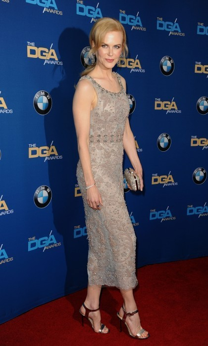 <strong>Feb. 4:</strong> Nicole Kidman looked stunning on the 69th Directors Guild of America Awards red carpet at The Beverly Hilton Hotel. The acclaimed actress arrived in a glamorous beaded dress and shiny heels for the annual event.