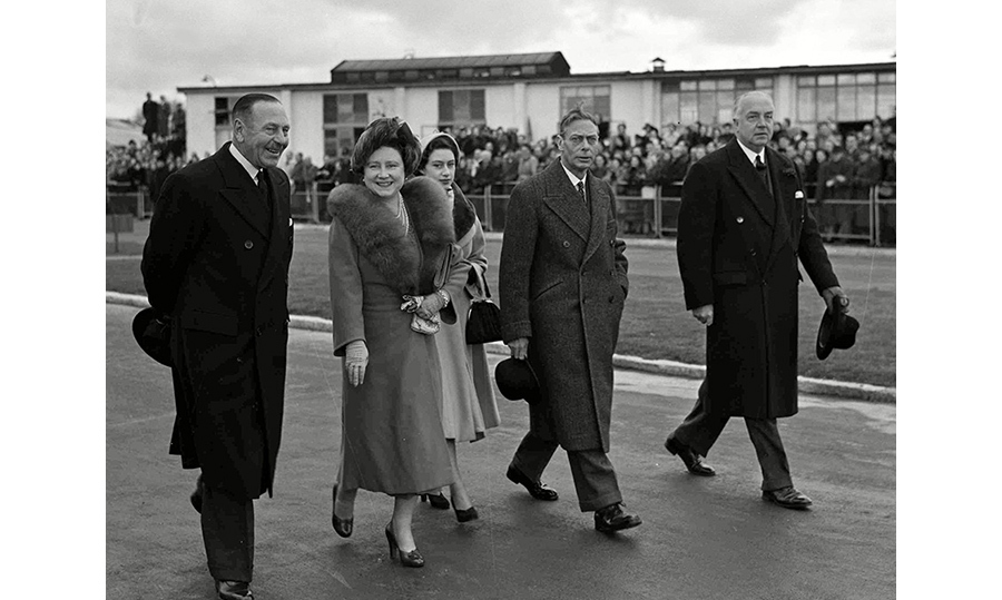 King George VI arrives at London Airport to say goodbye to Princess Elizabeth and Prince Philip ahead of their tour.
