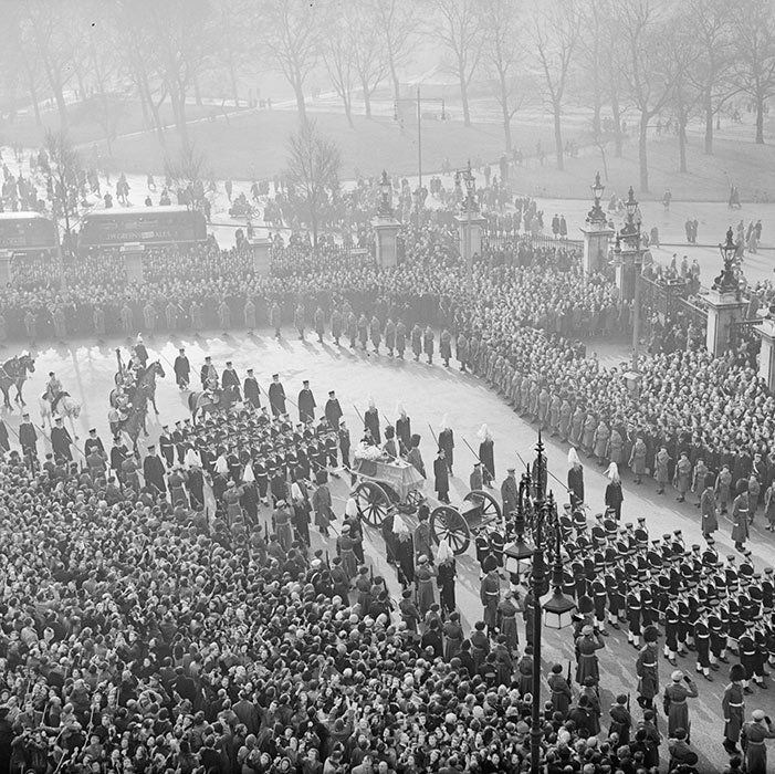 King George VI's funeral took place on Feb. 15, 1952. He was buried at St George's Chapel, Windsor Castle.