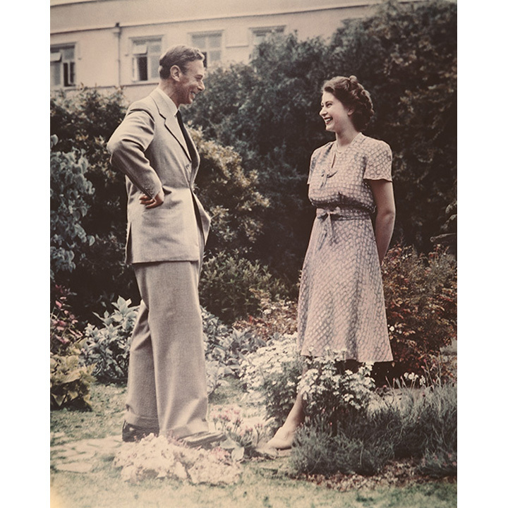 Elizabeth and her father, King George VI, pictured together in July 1946.
