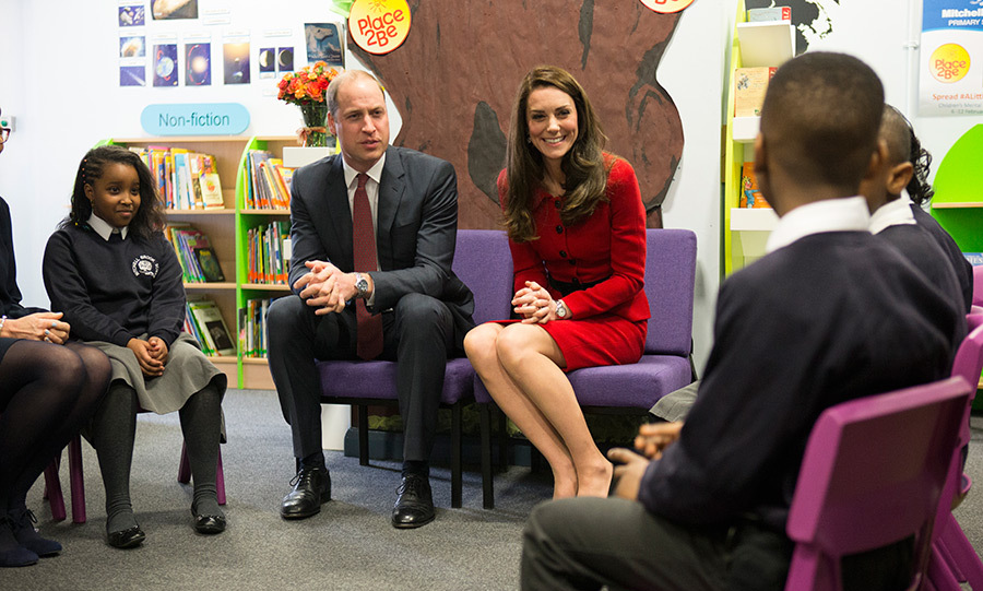 Prince William and Kate spoke to children at Mitchell Brook Primary School in north west London.