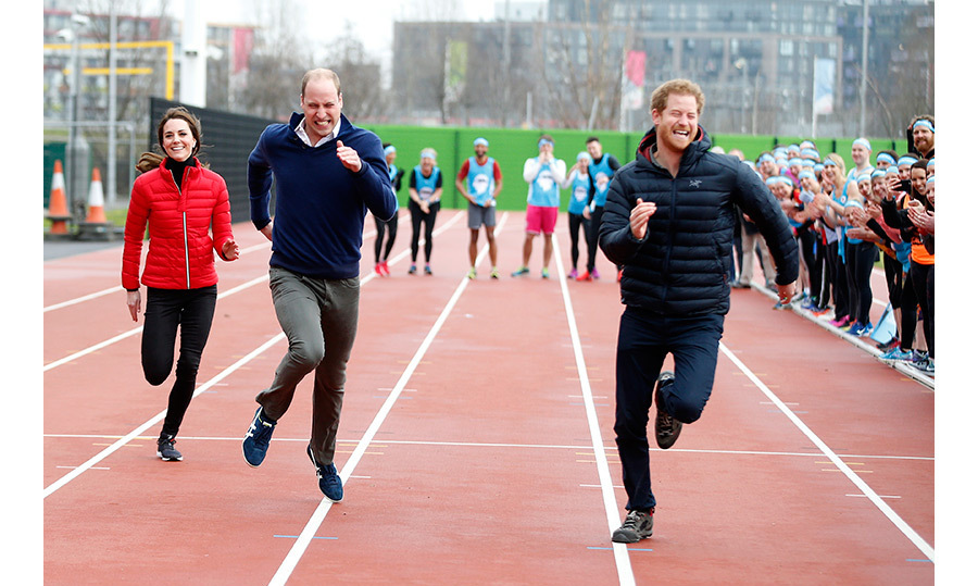 Run Kate! The duchess tried her best to keep up with husband Prince William and Prince Harry during a friendly sprint at London's Queen Elizabeth stadium. There were no losers in this race, as it raised awareness for mental health programs.