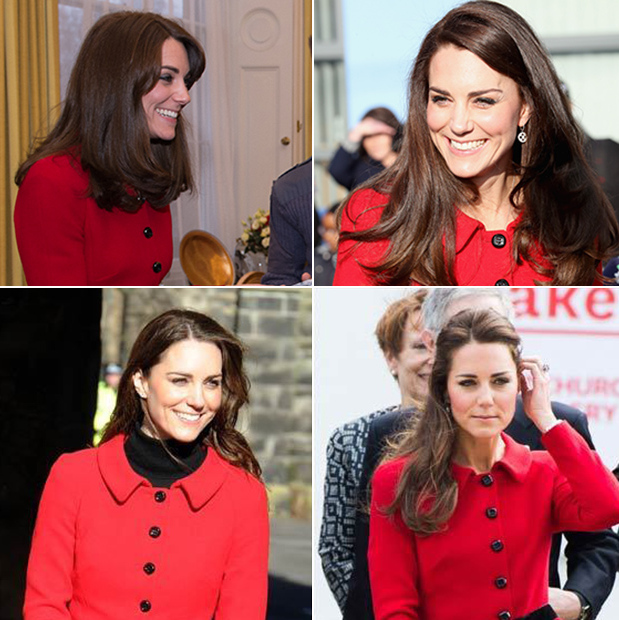 Fourth time is a charm for this red Luisa Spagnoli skirt suit. Kate has worn the eye-catching ensemble four times since 2011.