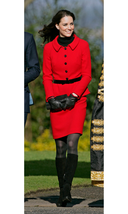 Perhaps one of her favourite ensembles in her wardrobe, the Duchess of Cambridge has worn this vibrant, red skirt suit by Luisa Spagnoli for a record four times. The Duchess first wore the stylish piece back in 2011 while visiting her old university St. Andrews with Prince William.