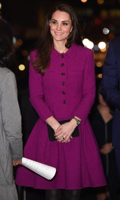 The mom-of-two wore a sophisticated suit by Oscar de la Renta in 2017. Kate attended the Guild of Health Writers Conference wearing a violet three-quarter sleeve tailored jacket and matching full pleated skirt from Peter Copping's first collection for the label.