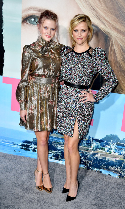 <strong>Feb. 7:</strong> Reese Witherspoon and her look-alike daughter Ava Phillippe made a colourful pair at the premiere of HBO's <em>Big Little Lies</em>. The mom-of-three stepped out in an Elie Saab minidress, while Ava wore a metallic floral print dress by Haney.