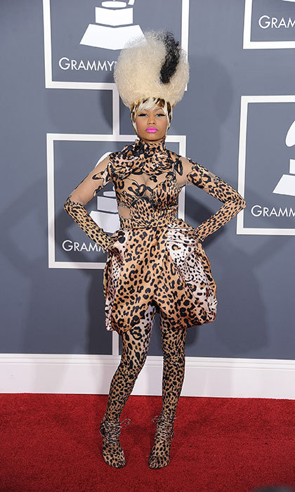 <h3>Nicki Minaj in Givenchy</h3><p>Talk about taking a walk on the wild side. This over-the-top, head-to-toe leopard print number was only to be outdone by her hair.</p><p>Photo: © Getty Images</p>