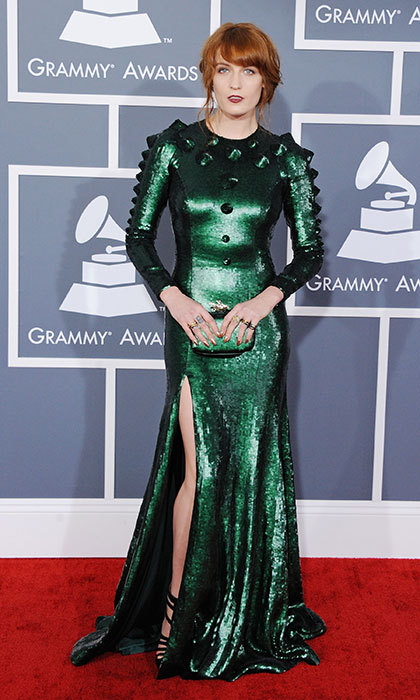 <h3>Florence Welch in Givenchy</h3><p>The singer sparkled in this amphibian-like custom Givenchy gown.</p><p>Photo: © Getty Images</p>