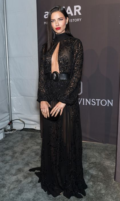 <strong>Feb. 8:</strong> Adriana Lima mixed things up at the amfAR gala in Zuhair Murad. 
