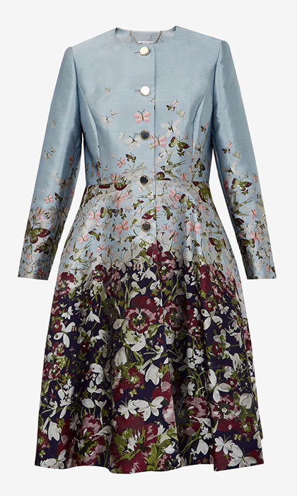 "<strong>Feelo Entangled Enchantment Collarless Coat</strong>, $609, <a href=""http://tedbaker.com"" target=""_blank"">tedbaker.com</a>"